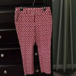 Super cute red and white designed pants loft